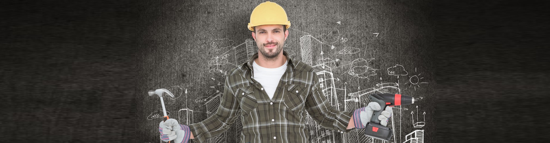 a construction worker with tools smiling at the camera