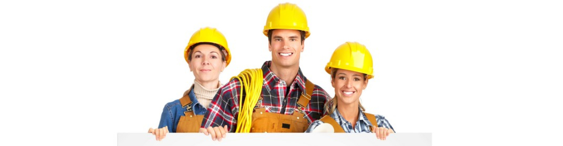 construction workers holding a sign smiling at the camera
