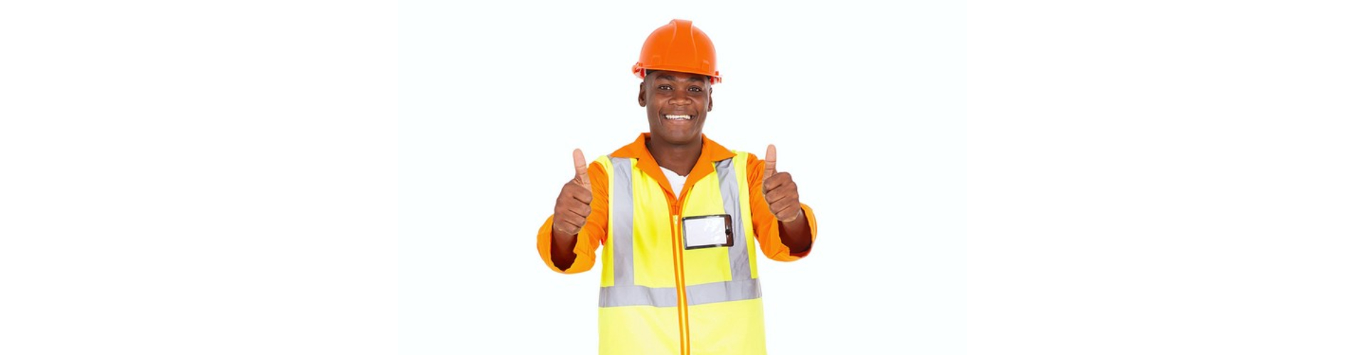 construction worker smiling at the camera